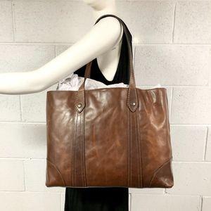NWT $358 FRYE large Melissa Shopper Tote in Cognac
